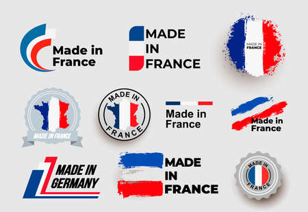 Made in France . Set of design France flag in map quality label icon. Vector illustration. Isolated on white background.