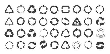 Mega set of recycling flat vector icons. Gray circle arrows flat. Vector illustration. Circle gray arrow sign isolated on white background.  イラスト・ベクター素材