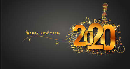 New Year 2020 line design firework champagne gold shining. Flyers, banner, greetings, invitations, christmas themed congratulations. Vector illustration. Isolated on black background.