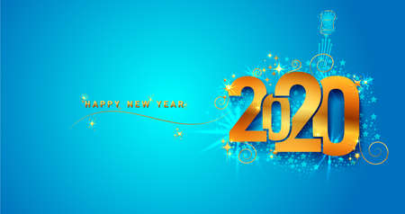 New Year 2020 line design firework champagne gold shining. Flyers, banner, greetings, invitations, christmas themed congratulations. Vector illustration. Isolated on blue background Ilustracja