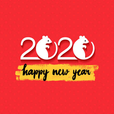 Rat Chinese year symbol. Happy new year. 2020 Mouse Chinese new year symbol. Vector illustration. Isolated on red background. Ilustracja