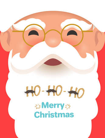 Santa Claus face smiling, poster. Merry Christmas and happy new year 2020. Design for greeting card, banner, poster. Vector illustration. Isolated on red background.