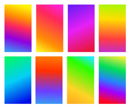Set of abstract gradient colored background. Soft mixing colors. Vector illustration. Isolated on white background.