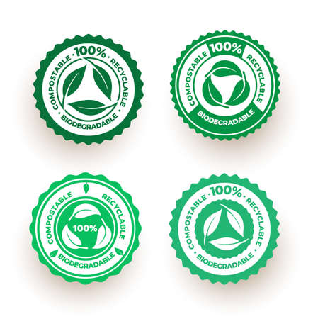 Set of biodegradable and compostable recyclable icon. 100 percent bio recyclable package green leaf design. Vector illustration. Isolated on white background.