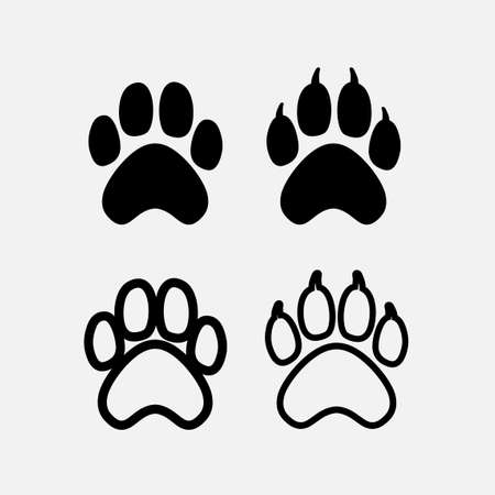 Set of black dogs paw print silhouette. Dog claw. Vector illustration. Isolated on white background.