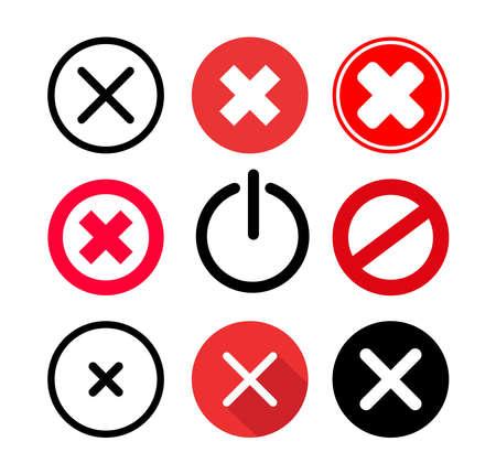 Set of cancel icon. Cancel sign symbol vector illustration. Isolated on white background.