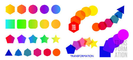Set of change icon, evolution, transformation, development, coaching color . Vector illustration. Isolated on white background.