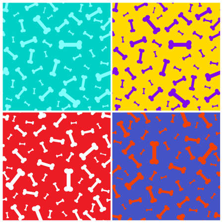 Set of Dog bone icon seamless pattern. Pets food symbol, green, yellow, red and blue. Vector Illustration. Isolated on colored background. Ilustracja