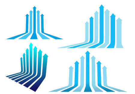Set of five and seven arrows moving up. Abstract financial chart with uptrend line arrows graph go up. Vector illustration. Isolated on white background.