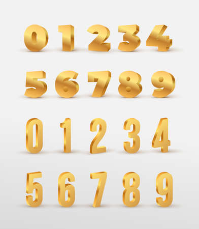 Set of Gold 3d numbers. Design for birthdays and holidays. Symbol vector illustration. Isolated on white background.