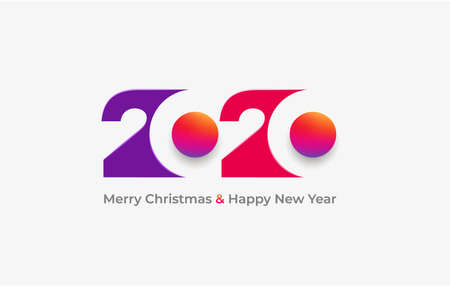 Happy New Year 2020 colour banner in paper style for your seasonal  flyers. Vector illustration greetings and invitations, christmas themed congratulations and cards. Isolated on white background. Ilustracja