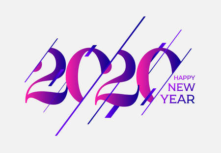 Happy new year 2020 template. Design for your seasonal holidays flyers, greetings and invitations, christmas themed congratulations and cards. Vector illustration. Isolated on white background.