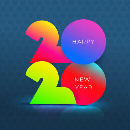 Happy New Year 2020 text colorful design. Cover of business diary for 2020 with wishes. Brochure design template. Vector illustration. Isolated on blue background.