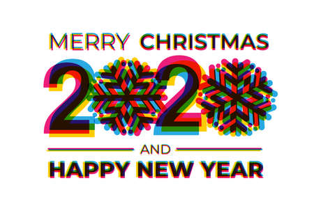 Happy New Year 2020 Text Design. Vector illustration. Isolated on white background.