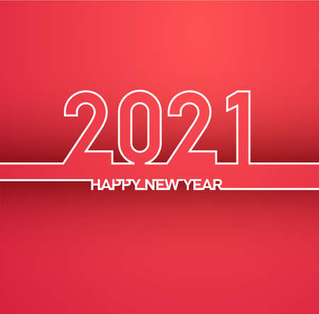 Happy New Year 2021 background. Calendar in-line design, typography. Year number with outline digits. In one endless line. Vector illustration. Isolated on red background. 일러스트