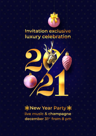 Invitation for New Year Eve celebration. Gold 2021 numbers. Elegance New Year 2021 greeting card artwork, brochure design template, card, banner. Vector illustration. Isolated on blue background.