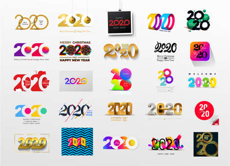 Set of Happy New Year 2020 text design. Cover of business diary for 2020 with wishes. Brochure design template, card, banner, postcard. Vector illustration. Isolated on white background.
