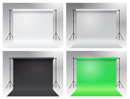 Set of photo studio chroma key. Modern equipment photo studio. White, gray, black, green backdrop stand tripods. Realistic 3D template mock up. Vector illustration. Isolated on white background. Foto de archivo - 137482829