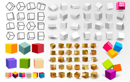 Mega Set of white 3D cubes pack isolated on white background. Different light, perspective and angle. Vector illustration. Isolated on black background.