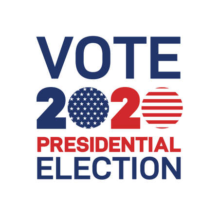 Presidential Election 2020 in United States. Patriotic american element. Vote day, November 3. US Election vector illustration. Poster, card, banner and background. Isolated on white background.