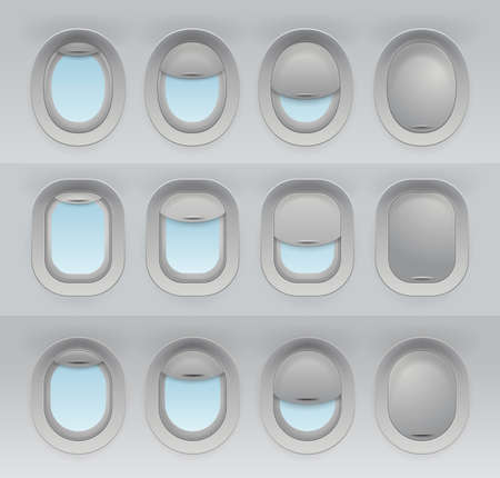 Big set of 3d realistic aircraft windows with curtains in different positions and blank copy space inside. Mockup for your design. Vector illustration. Isolated on white background.