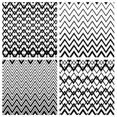 Set of seamless black and white backgrounds with geometric shapes and lines. Vector illustration. Isolated on white background.