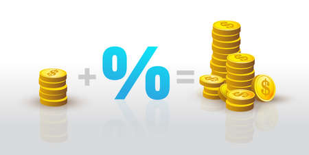Stack of gold coins plus percent is equal to many stacks of gold coins. Pile of gold dollar coins. Cash payment.Formula of success in business and profit receiving. Isolated vector illustration.
