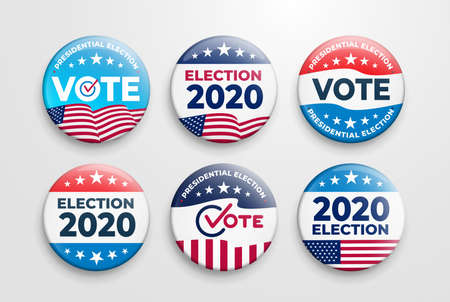 Set of 2020 United States of America presidential election button design. Voting 2020 Icon. Government, and patriotic symbolism and colors. Label vector illustration. Isolated on white background.