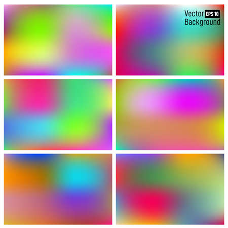 Set of abstract smooth mesh background, colorful blurred design. Easy editable soft colored Suitable for wallpaper, banner, Card, landing page. Vector illustration. Isolated on white background.