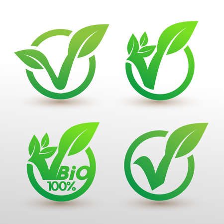 Set of bio recyclable degradable label  template. Eco vector illustration. Isolated on white background.