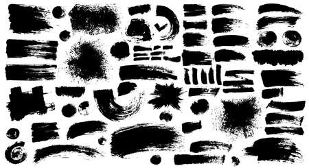 Set of black ink style splash, blobs and stains brushes and textures made with watercolor. Grunge dirty shapes and silhouettes for your design. Vector illustration. Isolated on white background.