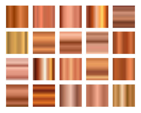 Set of bronze copper metal foil abstract background with modern vector gradient style. Metallic polished abstract texture. Vector illustration. Isolated vector illustration.