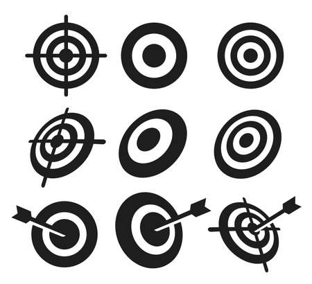 Set of Business aim icon. Targeting icon vector illustration. Circle shape outline isolated on white background.