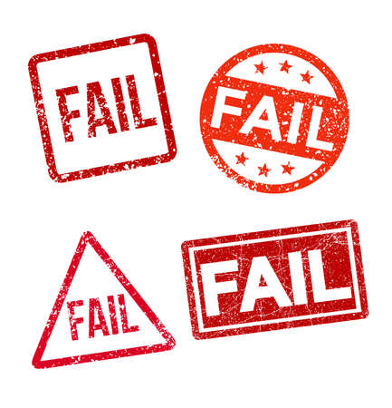 Set of fail stamp. Fail square, circle, rectangle, triangle grunge sign. Red vintage label. Vector illustration. Isolated on white background.