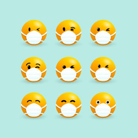 Emoji with mouth mask. Set of yellow faces with closed eyes wearing a white surgical mask. Corona virus infection. 2019-ncov virus. Coronavirus microbe. Isolated vector graphic illustration. Illustration
