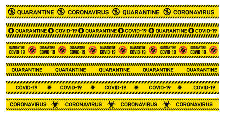 Big Set of yellow caution tape with Quarantine, Covid-19, Coronavirus written on it. Warning sign of outbreak. Vector illustration. Isolated on white background.