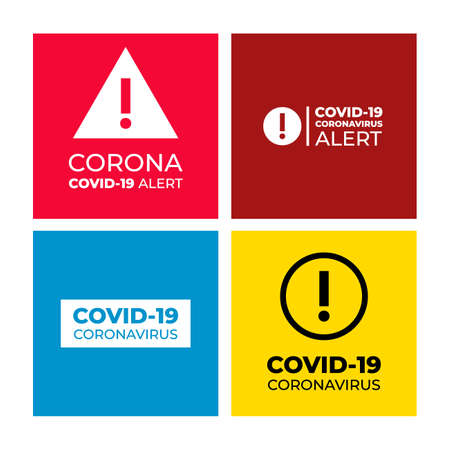 Set of Covid-19 alert sign graphic or Coronavirus pandemic alert. Vector illustration. Isolated on white background.