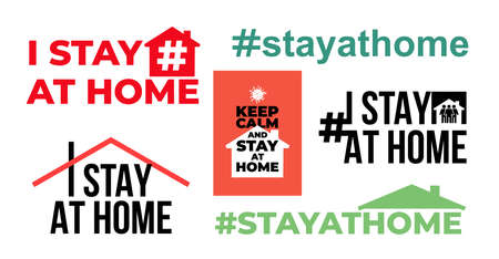 Set of I stay at home awareness social media campaign and coronavirus prevention. Family staying together. Vector illustration. Isolated on white background.