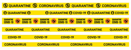 Set of yellow caution tape with Quarantine, Covid-19, Coronavirus written on it. Warning sign of outbreak. Vector illustration. Isolated on white background.
