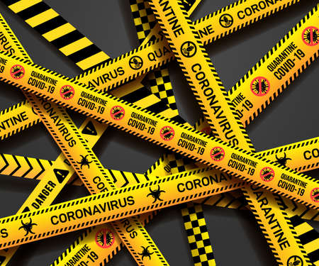 Set of yellow ribbons. Warning sign of quarantine. Coronavirus, Covid-19 outbreak. Caution tape with quarantine written on it. Vector illustration. Isolated on grey background.
