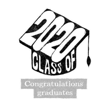 Class of 2020 Congratulations Graduate typography with cap and tassel. Handwritten inscription. Vector illustration. Isolated on white background. Illustration