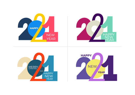 Set of 2021 text logo design. Colored Happy new year label. Business decoration sign. Brochure design template, card, banner, postcard. Vector illustration. Isolated on white background. Illustration