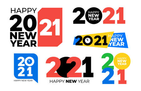 Set of 2021 text logo design. Happy new year label. Business decoration sign. Brochure design template, card, banner, postcard. Vector illustration. Isolated on white background. Illustration