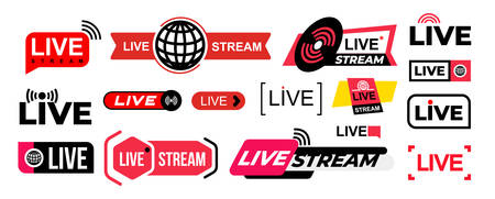 Set of live streaming vector icons. Colored symbols and buttons of live streaming, broadcasting, online stream. Design for tv, shows, movies and live performances. Isolated on white background.