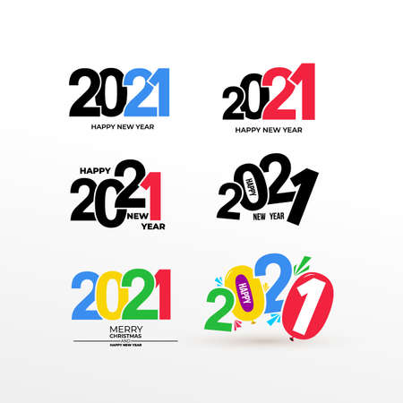 Set of Happy New Year 2021 Text Design. Business decoration sign. Brochure design template, card, banner, postcard. Vector. Isolated on white background