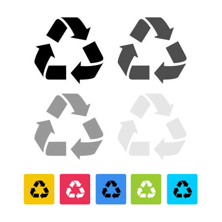 Set of recycling eco icon. Flat design recycle icon page symbol for your website, app, UI. Vector illustration. Isolated on white background.