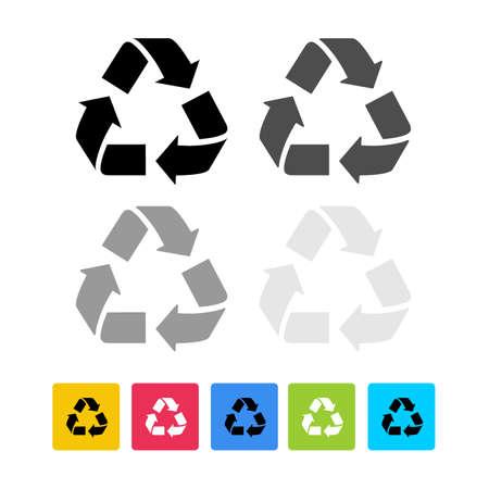 Set von Recycling-Öko-Symbol. Flaches Design Recycling Symbol Seitensymbol für Ihre Website, App, Benutzeroberfläche. Vektor-Illustration. Isoliert auf weißem Hintergrund.