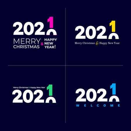 Set of Happy new year 2021. Cover of card, print, overlay or stamp, seal, greeting, invitation card for 2021. Vector illustration. Isolated on blue background.