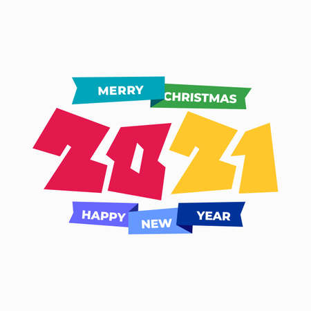 Colored 2021 Happy New Year. Design numbers of colorful 2021  . Perfect typography for design and new year celebration invite. Christmas vector illustration. Isolated on white background.