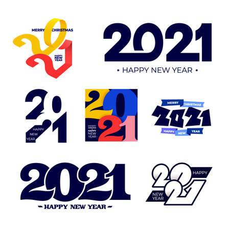 Collection of 2021 Happy New Year signs. Set of 2021 Happy New Year symbols. Greeting card artwork, brochure template. Vector illustration with blue holiday labels isolated on white background. Illustration